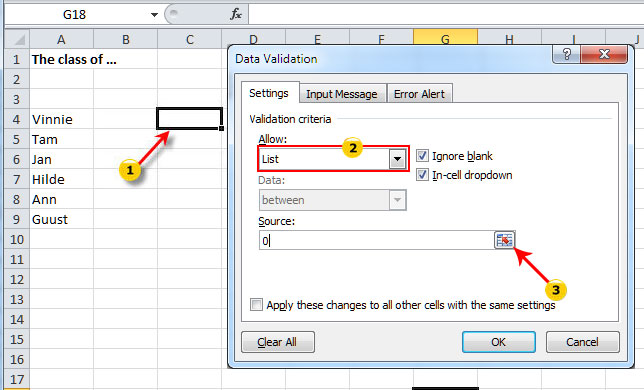 how to create a data validation list in excel 2010