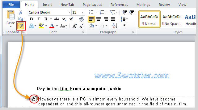how to clear formatting in word 2016