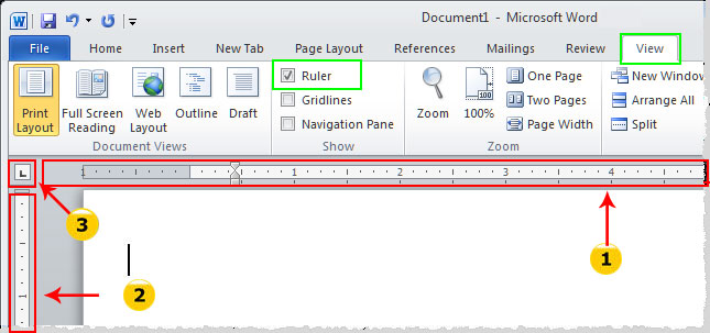 microsoft word 2010 show ruler
