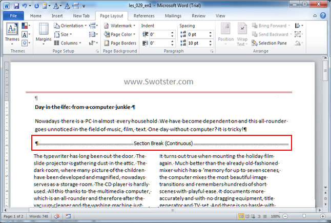 Swotster Word 2010 - Formatting paragraphs and pages (6)